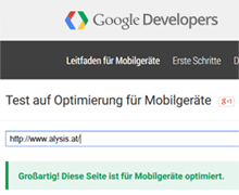 Screenshot der Google Funktion zum Testen, ob eine Website mobile-friendly ist